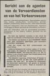 366 Bericht van de agenten van de Vervoersdiensten en van het Verkeerswezen. Message aux agente des services da ...