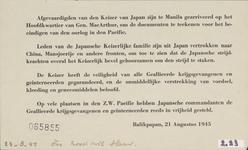631 Afgevaardigden van den Keizer van Japan zijn te Manila gearriveerd op het hoofdkwartier van Gen. Mac Arthur om de ...