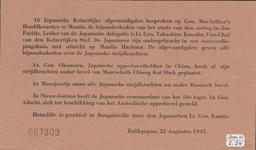 632 16 Japansche Keizerlijke afgevaardigden bespreken op Gen. MacArthur's hoofdkwartier te Manila de bijzonderheden van ...