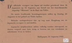 633 De officieele overgave van Japan zal worden geteekend door de Japanners aan boord van het Amerikaanse slagschip ...