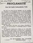 660 Proclamatie van de Bevelhebber der Japanse strijdkrachten: Aan het heele Indonesische volk . Het doel van Japan bij ...
