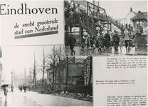 193275 Collage van 2 foto's waarop: 1. de voetbrug bij de Woenselse Overweg 2. Vestdijk, 1928 - 1929