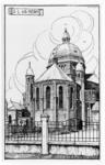 107584 Wilhelminalaan 18. Pentekening van de achterzijde van de kerk Onze Lieve Vrouw ten Hemelopneming, gezien vanaf ...