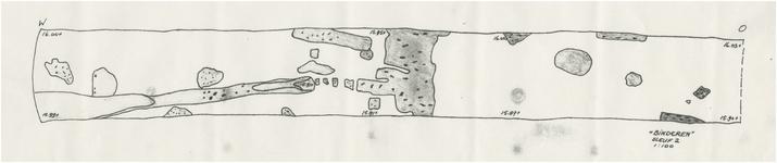 175974 Tekening van een gegraven Sleuf bij de Opgraving op Binderen, 1980