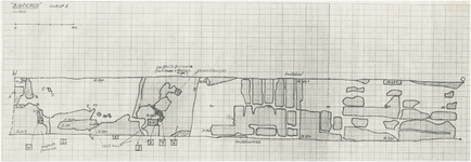175975 Tekening van een gegraven Sleuf bij de Opgraving van Binderen, 1980