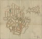 176111 Kaart van de Binnenstad van Helmond waarop aangegeven de bebouwing van W.B.V.'s Volksbelang en De Hoop, begrensd ...