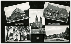 46625 Collage van 5 foto's: Hugten, RK Kerk St. Gertrudis, Schoolhuis, Gemeentehuis en Stationsstraat, 1960