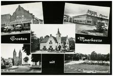 46626 Collage van 5 foto's: Hof van Holland, Philips, Gemeentehuis, RK Kerk St. Gertudis en Natuurbad, 1960