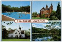 46637 Collage van 4 foto's: zwembad Cranendonck, RK kerk St. Gertrudis, gemeentehuis, Bosven, 1999