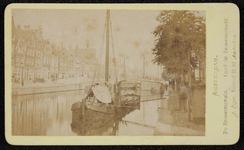 1821-10 Deventer - Album Burgerweeshuis en Kinderhuis - Carte de visiteAmsterdam, Brouwersgracht met schip.