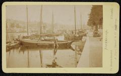 1821-5 Deventer - Album Burgerweeshuis en Kinderhuis - Carte de visiteAmsterdam, de binnen-Amstel met schepen.