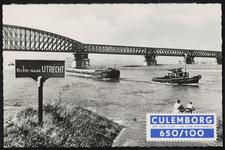 De spoorbrug naar Culemborg, met opgeplakte zegel: Culemborg 650 jaar stad - 100 jaar spoorbrug