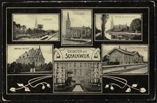 Zesluik met afbeeldingen van Schalkwijk: Canisius gesticht, station, r.-k. kerk (4x