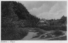 N 9558 - huis, drie verdiepingen, schuin dak, diverse schoorstenen, in een bosrijke omgeving; voorgrond zandkuil