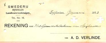 SP_VERLINDE_009 Spijkenisse, Verlinde - Smederij - Rijwielen, landbouwwerktuigen, (1923)