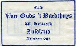 SZ1707. Café Van Ouds 't Raedthuys.