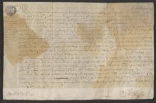 CHV-763 Brief van keurschepenen der landvierschaar te Veere. Overdracht van de helft in de lijnbaan 'De Rysende Son' ...
