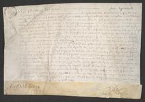 CHV-764 Brief van keurschepenen der landvierschaar te Veere. Overdracht van 1/8 part in de lijnbaan 'De Rijsende Son' ...