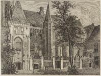 156 Gezicht op een deel van het Abdijplein te Middelburg met de zogenaamde Witte toren