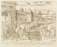 281 Intocht van de troepen van de Prins van Oranje in Middelburg, met onder 4 x 2 versregels (Duits) en jaar: 1574.Uit: ...