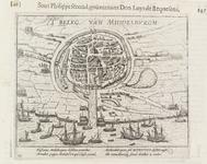 316 Plattegrond van de stad en de haven van Middelburg, met strijdende troepen en Geuzenvloot vóór de haven, verkleind, ...