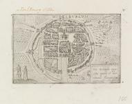 318 Fantasievoorstellling van de stad Middelburg rond 1400, met wapen van Zeeland (rechtsboven) en een man en en vrouw ...