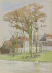 364 Gezicht op huizen aan de vest, met op de achtergrond de Abdijtoren te Middelburg, vanaf de Seissingel