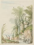 H-86 Landschap in de bergen bij een meer in Zwitserland met een zwaan, twee waterhoentjes, een reiger en twee eenden