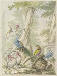 H-87 Een parkachtige omgeving met een vaas en een voetstuk met kalkoenen, fazanten, pauwen en papegaaien