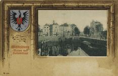 P-992 Gezicht op de Koningsbrug te Middelburg, overgaand in de Stationsstraat met links en rechts ervan de Kousteensedijk.