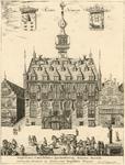 1048 Gezicht op het stadhuis aan de Markt te Veere, en aangrenzende panden, met boven de wapens van Zeeland (links) en ...