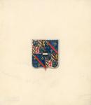1064c Het wapen van Adolf van Bourgondië, overleden 7 december 1540, (voorheen) op een glas-in-loodraam in de raadzaal ...