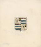 1064d Het wapen van Philips van Bourgondië, overleden 14 juli 1498, (voorheen) op een glas-in-loodraam in de raadzaal ...