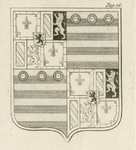 1065e Het wapen van Philips van Bourgondië, overleden 14 juli 1498, (voorheen) op een glas-in-loodraam in de raadzaal ...