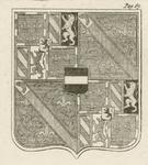 1065f Het wapen van Adolf van Bourgondië, overleden 7 december 1540, (voorheen) op een glas-in-loodraam in de raadzaal ...