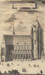1084 Gezicht op de Grote Kerk te Veere, voor de brand van 1686, met voorbijgangers