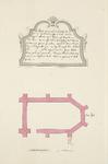 1100 Plattegrond van de kapel, afgebroken in 1550, ontdekt in 1720 in de Capellestraat te Veere, met toelichting boven ...