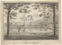 111b Gezicht in de tuin van het hof Sint Jan ten Heere te Domburg, met op de voorgrond een spelend kind en een jongeman ...