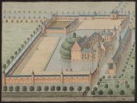 1125 Gezicht op het kasteel Sandenburgh te Veere bij Zanddijk, met personen bij de gracht en herten