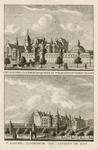 1126 Twee gezichten op het kasteel Sandenburgh te Veere bij Zanddijk, met personen en een tuinman, op 1 plaat