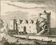 1130 Gezicht op het kasteel Sandenburgh te Veere bij Zanddijk, met visser, man en een vrouw met kruik op het hoofd en ...