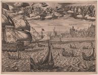1142b Profiel van de stad Vlissingen, van de zeezijde met de aankomst van keurvorst Frederik van de Palts en zijn ...