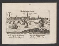 1144 Gezicht op de stad Vlissingen, van de zeezijde, met op de voorgrond de god Phoebus (kunst) met attributen, ...
