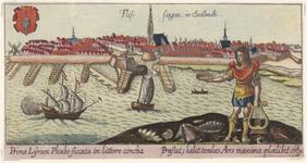 1145 Gezicht op de stad Vlissingen, van de zeezijde, met op de voorgrond de god Phoebus (kunst) met attributen, ...