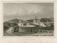 1197 Gezicht op de Bierhaven en de Beurs te Vlissingen, vanaf het bolwerk, met onder andere een raderboot en enkele ...