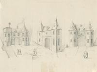 1216 Drie poorten, mogelijk te Vlissingen, de rechtse wellicht de Gevangenpoort, met voorbijgangers