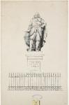1225 Het standbeeld door L. Royer van Michiel Adriaensz. de Ruijter (1607-1676), admiraal, te plaatsen in Vlissingen, met hek