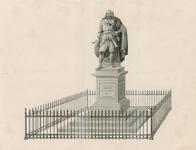 1226 Het standbeeld door L. Royer van Michiel Adriaensz. de Ruijter (1607-1676), admiraal, te Vlissingen, met hek