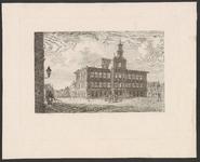 1242 Gezicht op het stadhuis van Vlissingen na het Engelse bombardement, met voorbijgangers