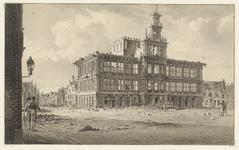 1243 Gezicht op het stadhuis van Vlissingen na het Engelse bombardement, met voorbijgangers